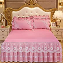 Lace Mattress Cover,Non-Slip Bedspread Mattress Protective Case Skin-Friendly Bed Skirt Princess Style Reactive Printing a...