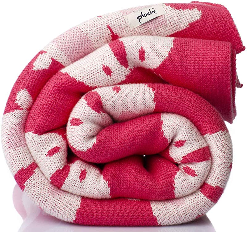 Pluchi Lovey Dovey Pink 100 Cotton Knitted Supersoft Kids Blanket 2 6 Years 39x47 100x120cm Sleepover Travel Naptime Blanke