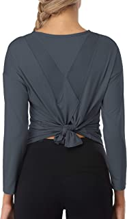 ATTRACO Long Sleeve Workout Shirts for Women Tie Back Breathable Sports Tops