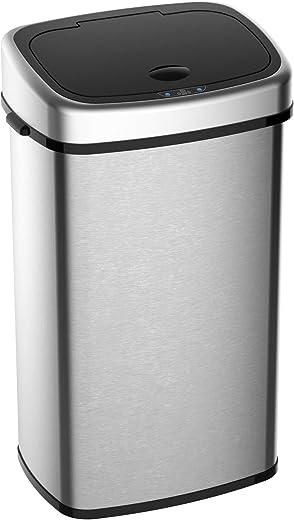 HOMCOM Automatik Mülleimer Abfalleimer mit Infrarotsensor Kücheneimer 48L Silber L40,5 x B29,5 x H68 cm
