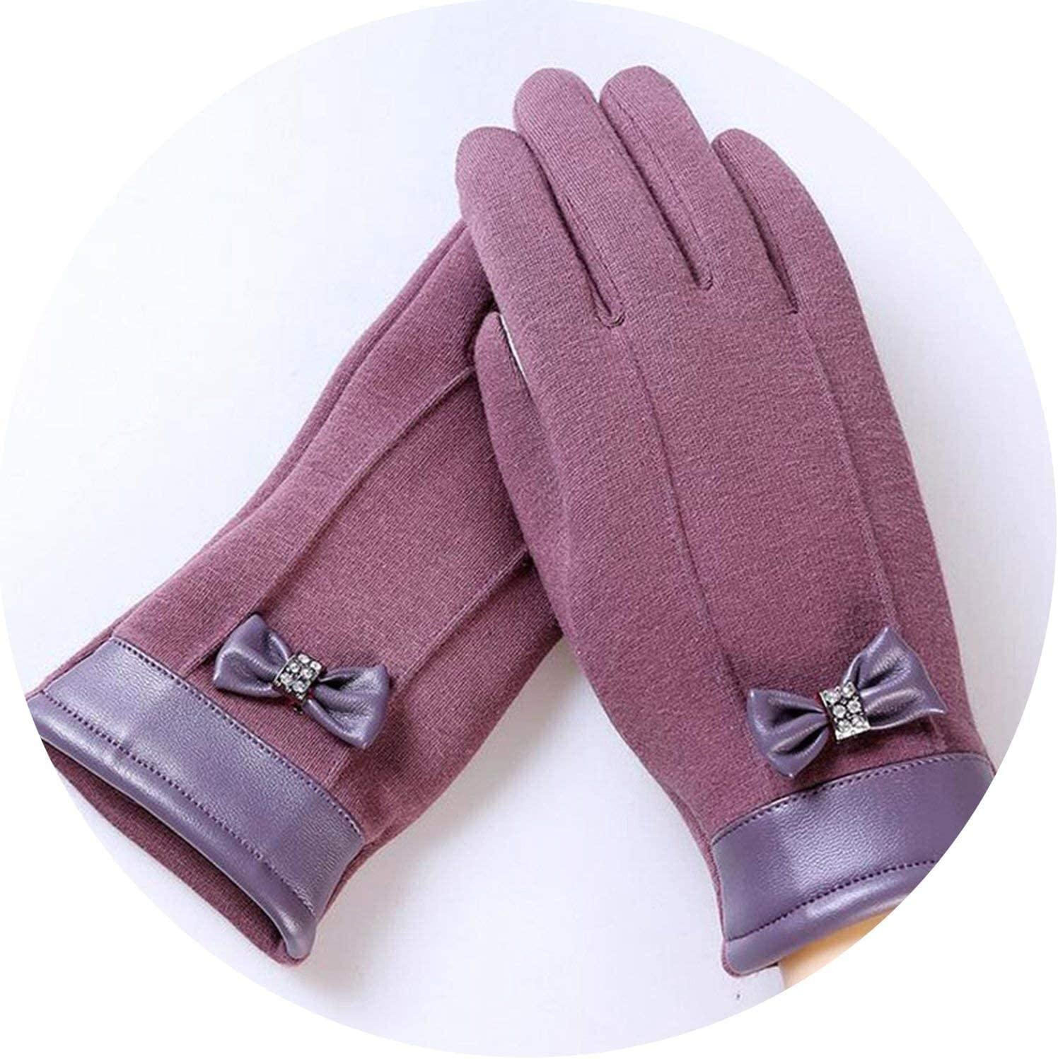 Samantha Warm Gloves Elegant Plush Female Lace Leather Wrist Bow Tie Gloves Winter Sports Fitness Women Phone Touch Screen Mittens Gloves (Color : Bean Color, Size : Oneszie)