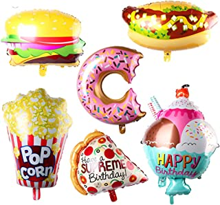 AnnoDeel 6pcs Giant Popcorn Food Mylar Balloons, 25inch Ice Cream Balloons Popcorn Balloons Hot Dog Balloons Hamburg Balloons Donut Balloons Pizza balloon for Hawaii Luau Balloons Party Decorations