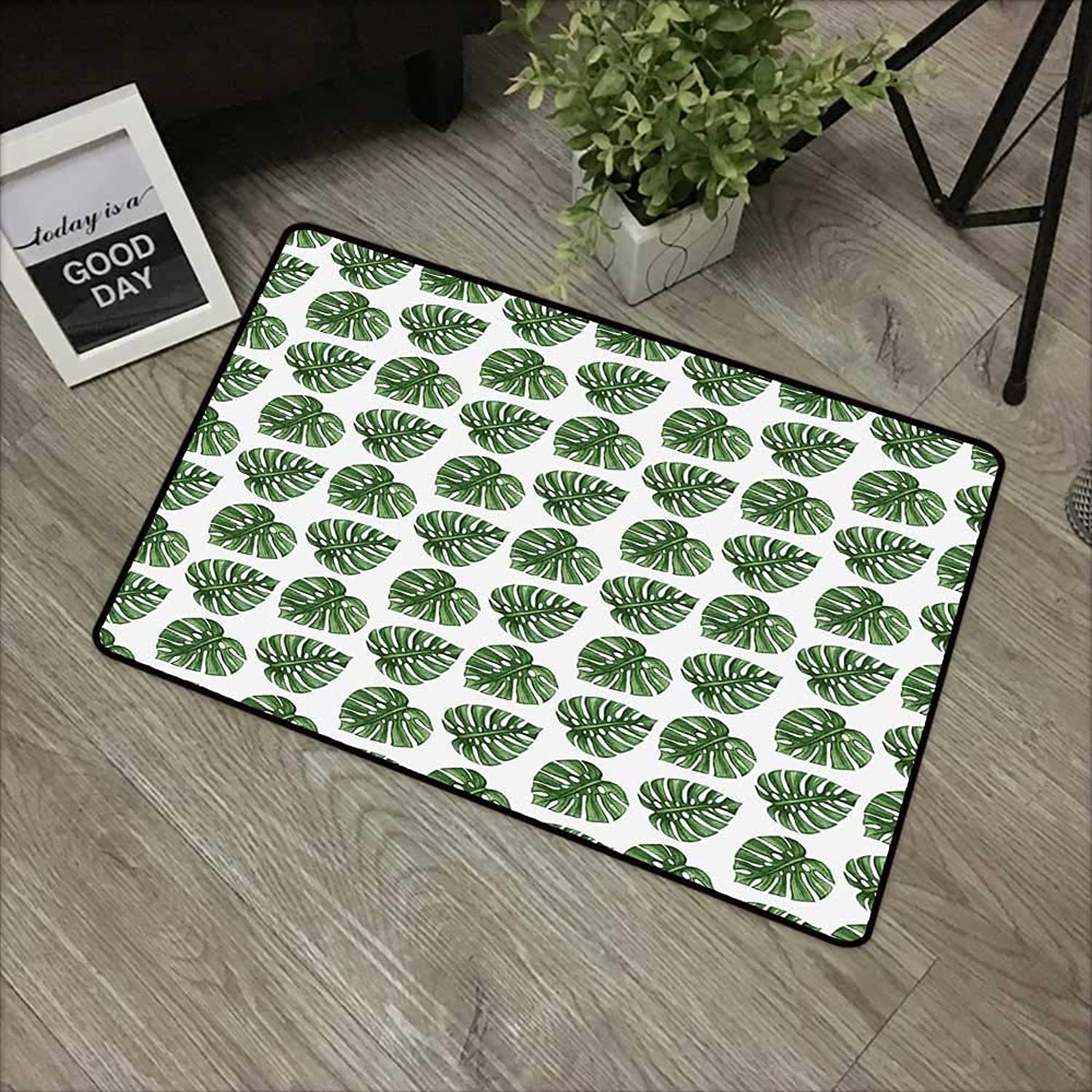 Bedroom Door mat W35 x L59 INCH Green Leaf,Tropical Jungle Leaves Palm Trees of Hawaii Watercolor Style Summer Nature,Green White Non-Slip Door Mat Carpet