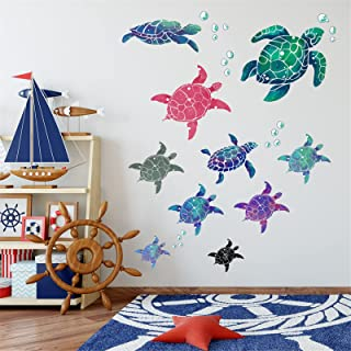 2 Sets Colorful Under The Sea Turtle Wall Decals Bubbles Vinyl Waterproof Sticker Removable Peel and Stick Art Murals for ...