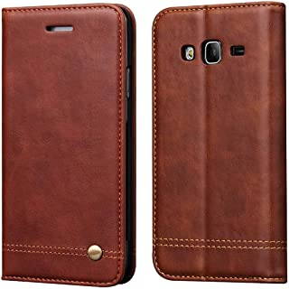 Galaxy J2 Prime Case,Galaxy Grand Prime Case,RUIHUI Leather Wallet Folding Flip Protective Case Cover with Card Slots,Kickstand,Magnetic Closure for Samsung Galaxy Grand Prime G530/J2 Prime (Brown)