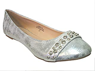 81865c97aa2d De Blossom Collection Womens Silver Flat Slip on Sequin Design Dress Shoes