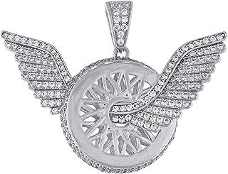 Jawa Jewelers Sterling Silver Cubic Zirconia CZ Flying Wheel Mens Pendant