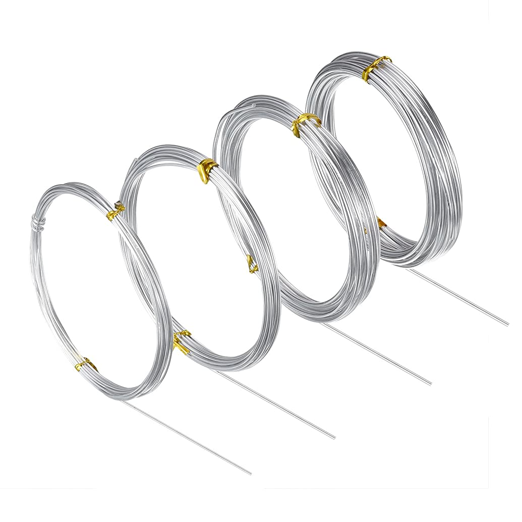 BBTO Silver Aluminum Craft Wire, 4 Sizes (1 mm, 1.5 mm, 2 mm and 2.5 mm in Thickness) Bendable Metal Wire for DIY Sculpture and Crafts, 4 Rolls, Each Roll 16.4 Feet