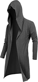 RAGEMALL Mens Long Cardigan Open Front Draped Lightweight Hooded Sweater with Pockets