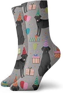 黒ラボ誕生日パーティー犬の品種ラブラドールレトリーバーグレーファッショナブルなカラフルなファンキー柄コットンドレスソックス11.8インチ