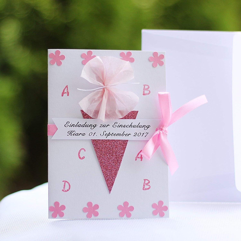 8 personalisierte Einladungskarten Einladung zur Einschulung Schuleinführung Schulanfang Zuckertüte Mädchen Rosa weiß Handarbeit binnbonn B073X5MNKX  | Spielzeugwelt, glücklich und grenzenlos