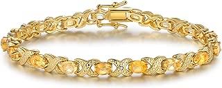 Barzel Gold, White Gold Plated or Rose Gold Plated Created-Gemstones Tennis Bracelet
