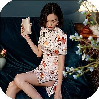 16 Colors Traditional Chinese Dress Women Mini Cheongsam Qipao Silk Clothing Retro Qipao Oriental Style Multiple Colour 3XL