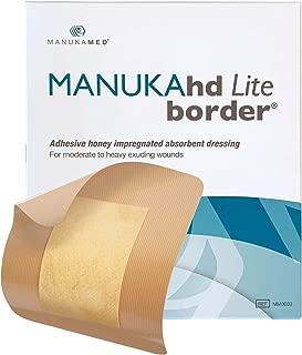MANUKAhd® Lite Border Dressing with Medical Manuka Honey | Honey Alginate Dressing for High Exuding Wounds | Use as Burn Dressing | by MANUKAMED® Global Leaders in Wound Care | 10 per Box