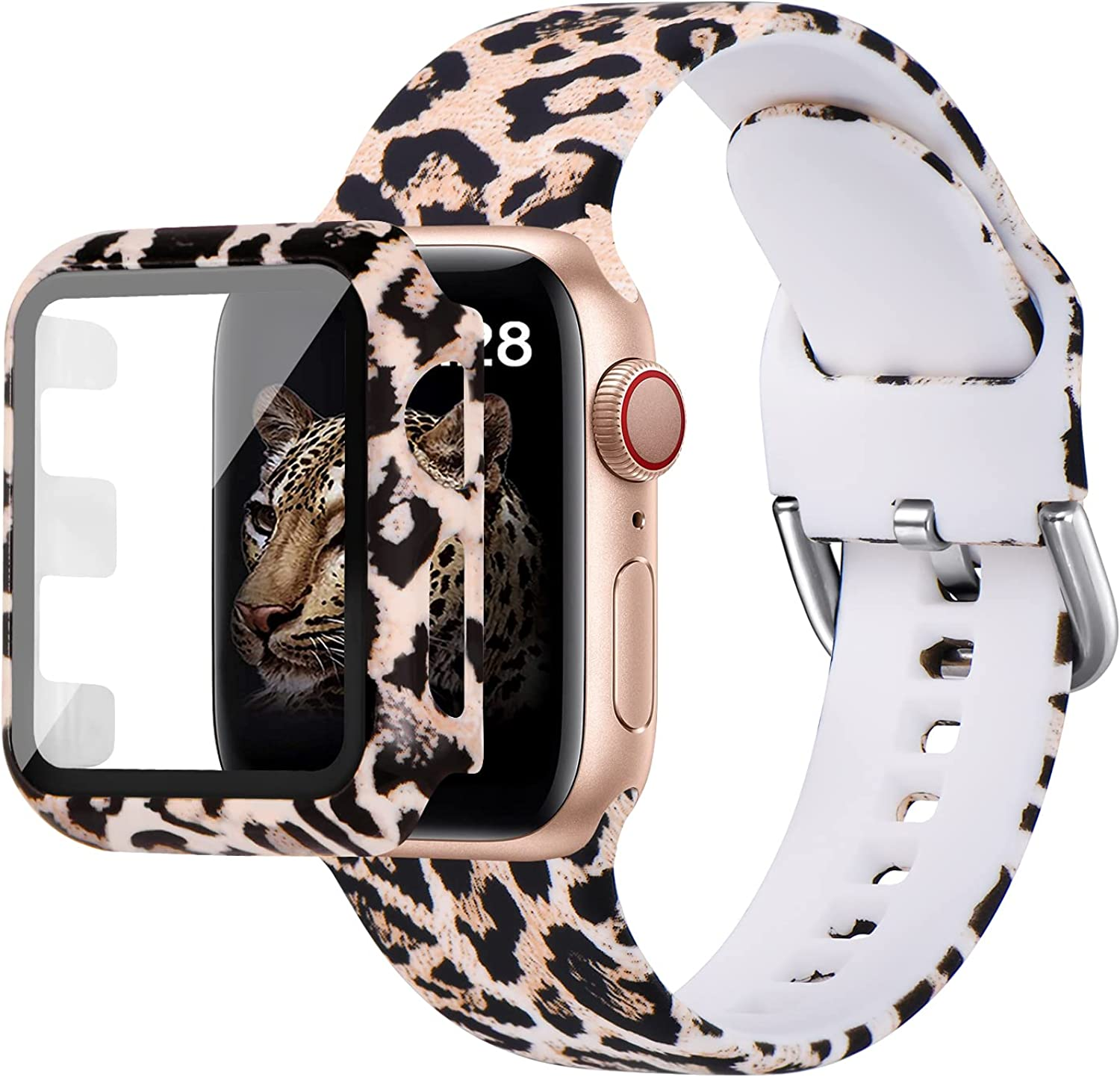 MNBVCXZ Compatible with Apple Watch Band 40mm 38mm 42mm 44mm with Apple Watch Screen Protector Case,iWatch SeriesSE 6 5 4 3 Silicone Leopard Print Sport Strap band