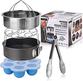 Esjay Accessories Set for Instant Pot-Fits 5,6,8Qt Instant pot Pressure Cooker,5-Pcs with Steamer Basket/Egg Steamer Rack/Egg Bites Molds/Non-stick Springform Pan/Kitchen Tongs,Best Gift Idea
