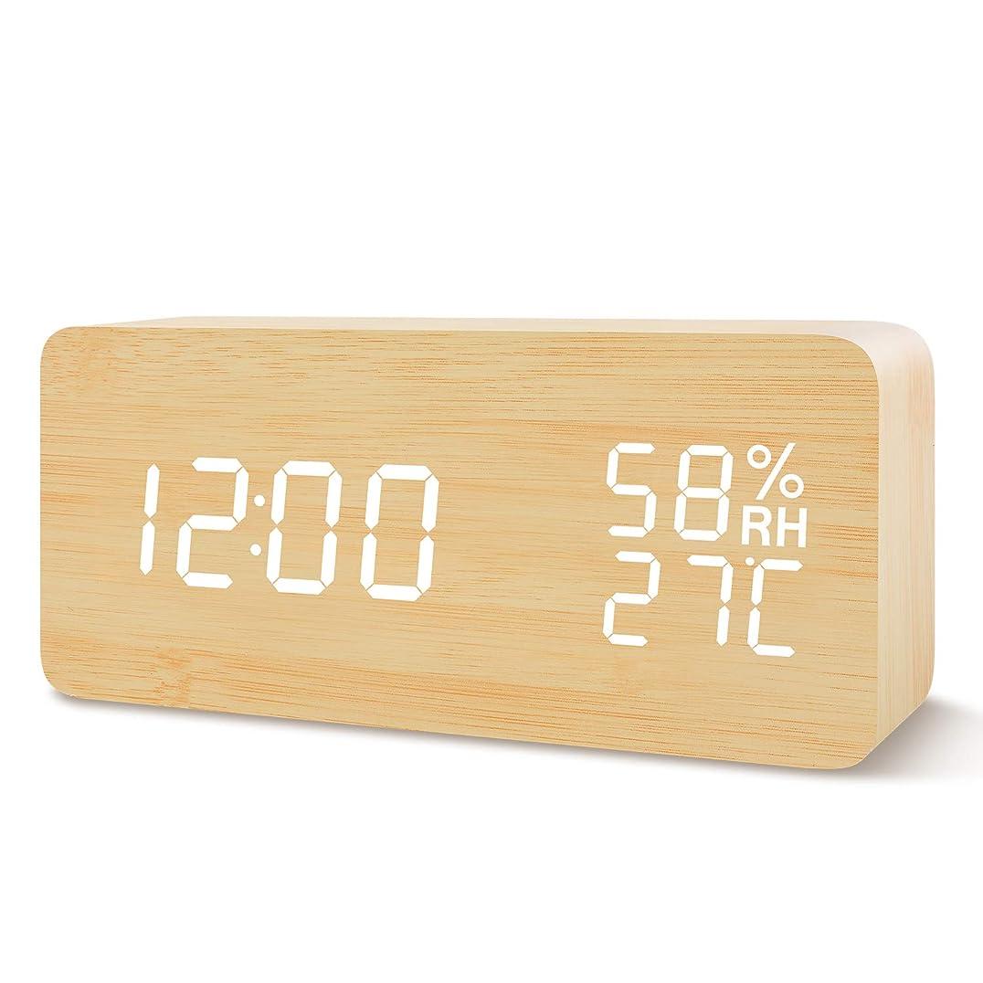 病んでいる摘む迷信置き時計 目覚まし時計 LED時計 アラームクロック Fomobest 音声感知 カレンダー付き 温度湿度計 2つの給電方法 USB給電/乾電池 省エネ 明るさ調節 記憶機能 日本語説明書付き 卓上寝室用