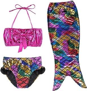 TFJH E 3PCS Kids Girls Swimsuit Bathing Suits Bikini Fish Tail Set 3-10Years