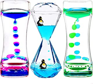 YUE ACTION Liquid Motion Bubbler Timer for Sensory Toys, Fidget Toy, Children Activity, Calm Relaxing Desk Toys, Anxiety Toys, Autism Toys, ADHD Fidget Toys, Assorted Colors, Pack of 3(Style#1)