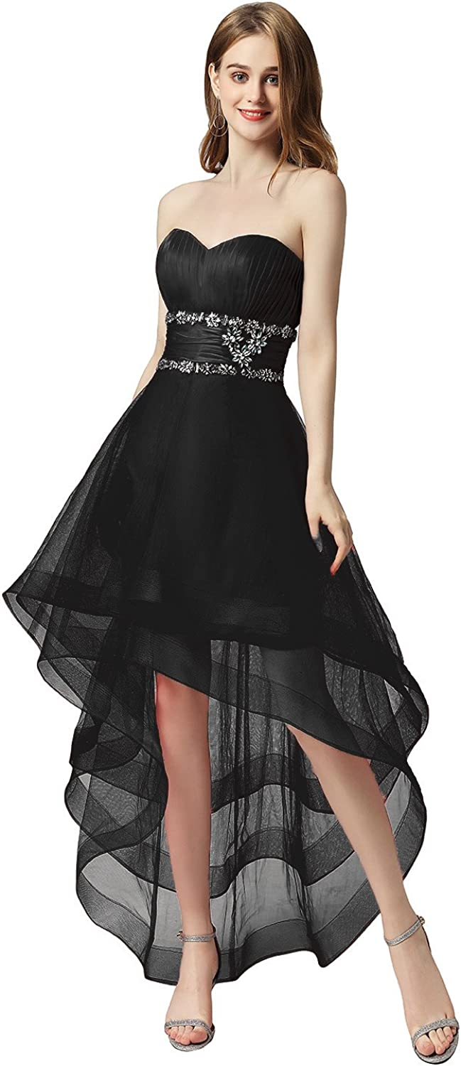 Sarahbridal Women's Tulle HiLow Beading Prom Dresses Evening Homecoming Cocktail Gowns