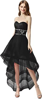 Women's Tulle Hi-Low Beading Prom Dresses Evening Homecoming Cocktail Gowns
