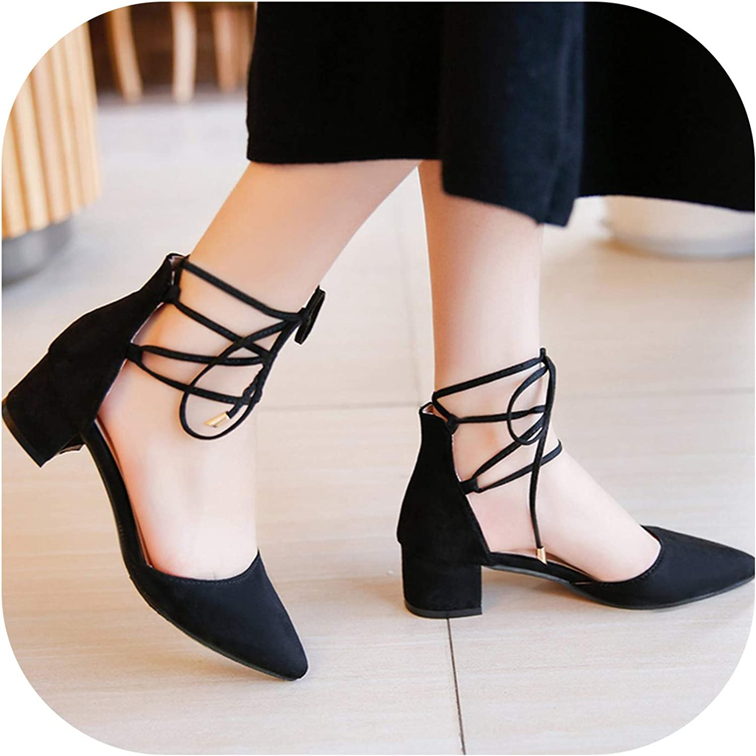 Betterluse Shallow Flats Summer Cross-Tied Women Sandals Lace Up Pumps Pointed Toe Square Heeled Ladies Dress shoes