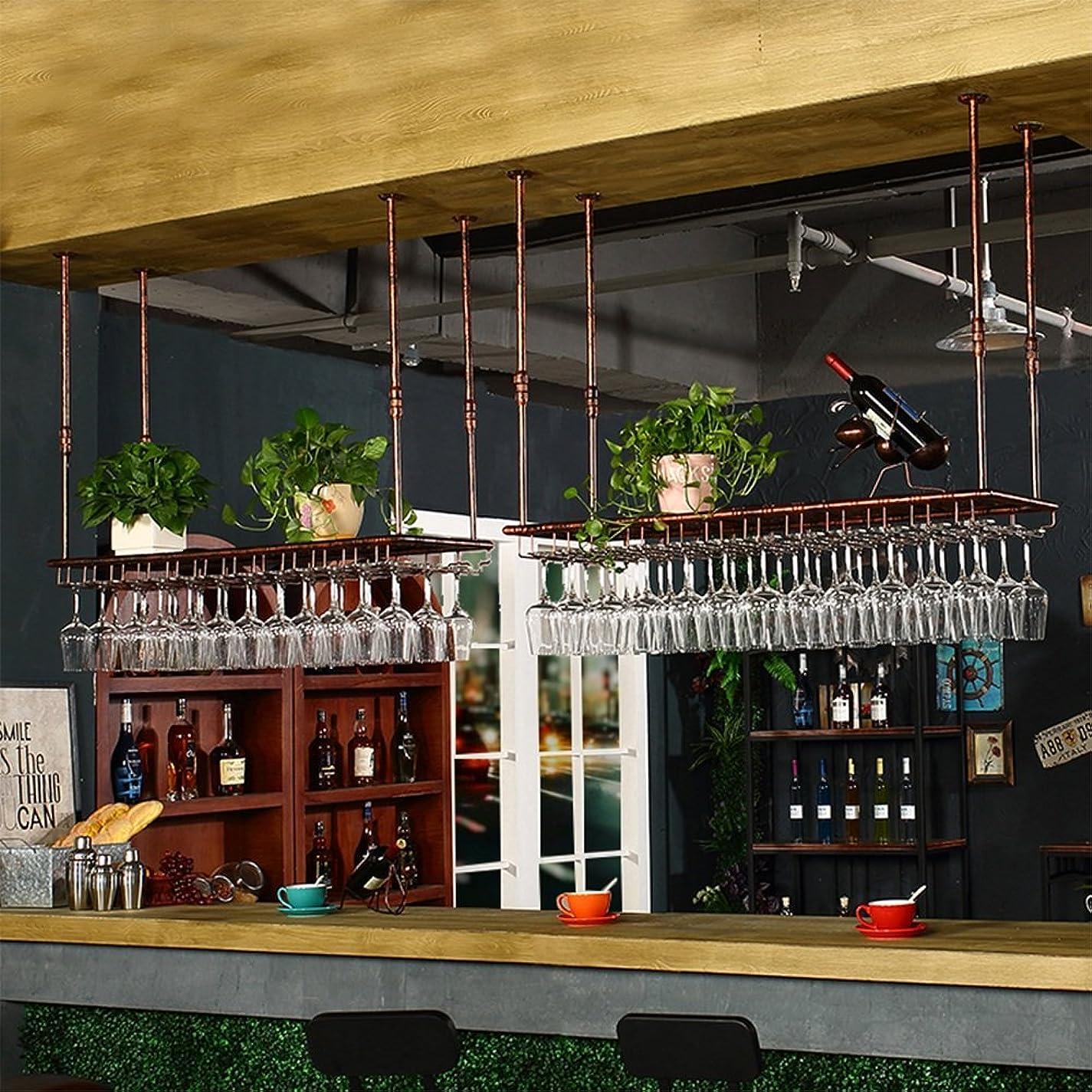 含む王女衝動Mei Xu ワインラック 鍛鉄ブラック/ブロンズバー彫刻されたワイングラスラック2色4吊り可能 ウォールマウントワインラック (色 : ブロンズ, サイズ さいず : 60*35*7cm)