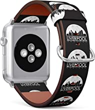 S-Type iWatch Leather Strap Printing Wristbands for Apple Watch 4/3/2/1 Sport Series (38mm) - Liverpool England Full Moon Night Skyline Silhouette Design City