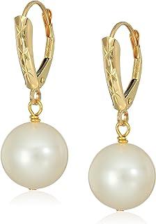 14k 11-12mm White Freshwater Cultured Pearl Design Lever-Back Dangle Earrings