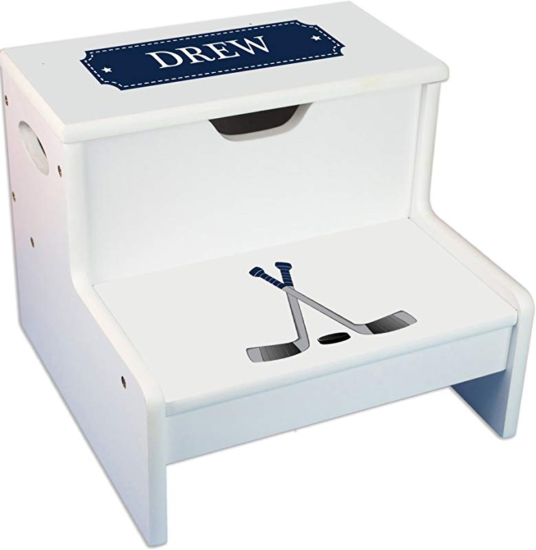 Personalized Ice Hockey Childrens Step And Storage Stool