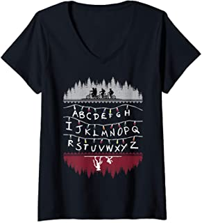Femme Netflix Stranger Things Alphabet Lights T-Shirt avec Col en V