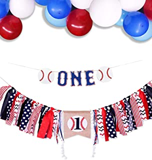 Baby 1st Birthday Decorations Baseball High Chair Banner One Garland with Balloons for Baseball Theme Baby Boy Birthday Baby Shower Supplies