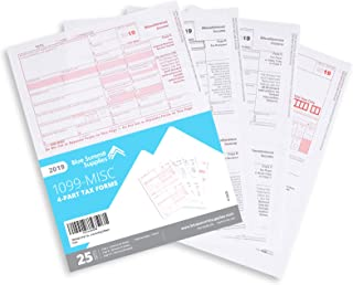 1099 MISC Forms 2019, 4 Part Tax Forms Kit, 25 Vendor Kit of Laser Forms Designed for QuickBooks and Accounting Software