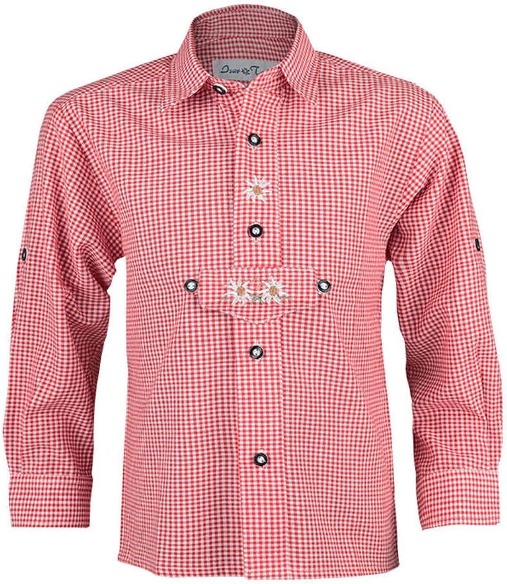 Isar-Trachten Joven Trachten Niños Camisa Rojo, Rojo, 68