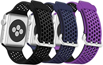 ESeekGo Compatible with Apple Watch Band 42mm 44mm 38mm 40mm Series 4 Series 5, 3 Pack Sport Breathable Silicone Replacement Smart Watch Wristband Compatible with iWatch Series 3 2 1 for Men Women