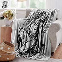 Xaviera Doherty Printed Blanket Zodiac Virgo,Young Angel Tattoo Microfiber All Season Blanket for Bed or Couch Multicolor 30