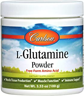 Carlson - L-Glutamine Powder, Free Form Amino Acid, Muscle Tissue Production & Function, Immune Support, 100 grams