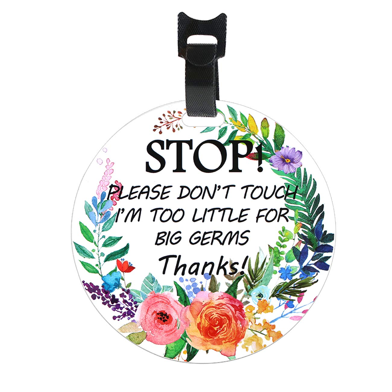 Stop-Please Don't Touch Baby Sign(Baby Preemie Sign,Boy Girl Preemie Sign for Stroller/Car Seat/Backpack)-2 Side Printing W/Hanger Easy Apply