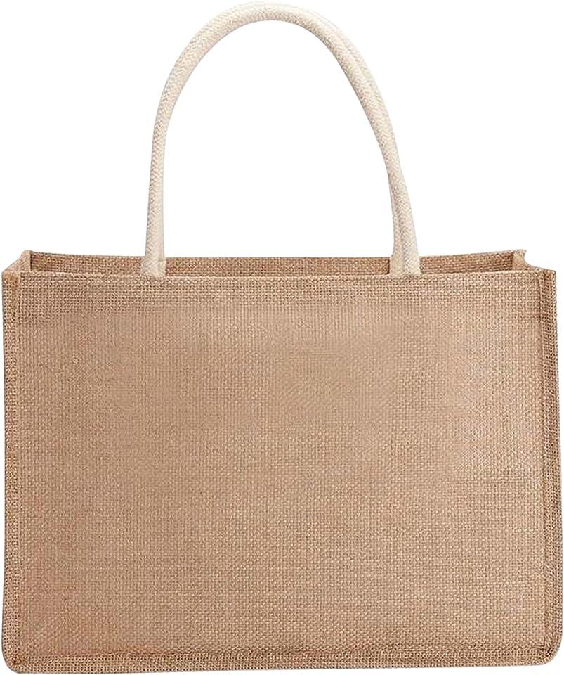 Jute-Einkaufstaschen, Jutetasche, Sackleinen-Einkaufstasche, wiederverwendbare Einkaufstasche am Strand mit Griff