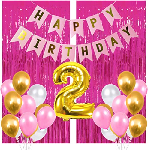 PARTY PROPZ HAPPY BIRTHDAY COMBO INCLUDES 1 GOLDEN FOIL BALLOON OF 2, 1 HAPPY BIRTHDAY BANNER, 2 PCS PINK FOIL CURTAI...