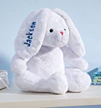 Personalized White Plush Bunny -Customized Stuffed Animal Children Easter Gift – Embroidered Floppy Ear Bunny with Child N...