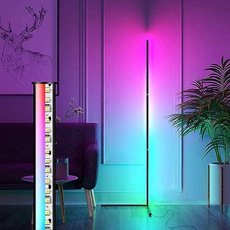 LED Stehlampe RGB Dimmbar mit Fernbedienung, AveyLum Wohnzimmer Lampe, Mehrfarbig Farbwechsel Moderne Stehleuchten, Dimmbare Stehlampe mit Fernbedienung, 18W Umgebungslicht Stehleuchten