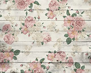 AOFOTO 10x8ft Vintage Wooden Plank Rose Flower Photography Background Retro Wood Board Backdrop Mother Lady Girl Kid Woman Portrait Valentine's Day Photo Studio Props Video Drape Vinly