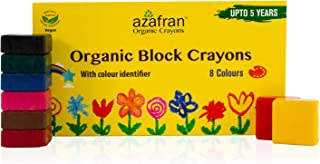 Azafran Organic Crayon 8 Colors Pack, 100% Vegan, Plant derived Ingredients, Non Greasy, Food Grade Colours (4.23 Oz)