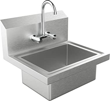 Bonnlo Commercial Stainless Steel Perp/ Bar Sink Hand Wash Sink - Wall Mount Hand Washing Basin Commercial Kitchen Heavy Duty