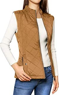 Allegra K Women's Zip Up Front Stand Collar Slant Pockets Quilted Padded Vest XL Saddle Brown