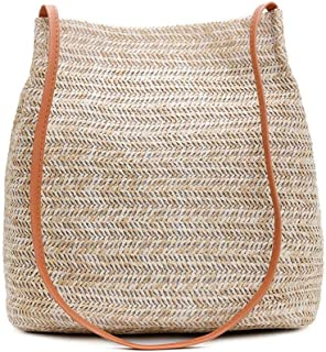 Women Straw Beach Bag,Hamkaw Hand-Woven Straw Shoulder Bag,Concise Design Beach Large Summer Tote Bag