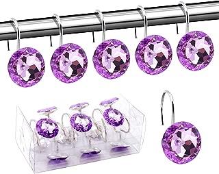 BEAVO Acrylic Fashion Decorative Home Rolling Purple Shower Curtain Hooks Rhinestones Bathroom Bath Baby Room Bedroom Living Room Decor Set of 12 Rings (Purple)