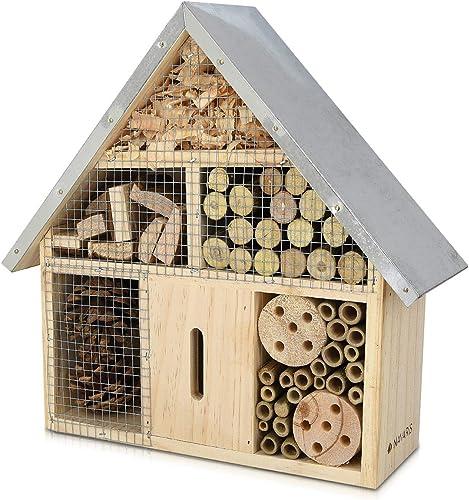 Navaris Hôtel Insecte en Bois - Cabane abri Taille M 28 x 24,5 x 7,5 cm - Maisonnette Refuge Abeille Coccinelle Papil...