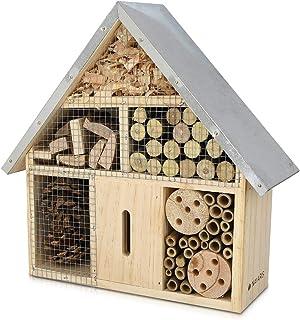comprar comparacion Navaris Hotel de Insectos Madera M - observatorio de Insectos 24,5 x 28 x 7,5cm - casa Natural con Cubierta metálica y Gan...